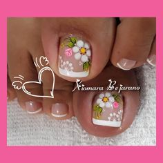 Summer Toe Nails, Toe Nail Designs, Toe Nail Art, Manicure And Pedicure, Arte Floral, Disney, Instagram, Bling Nails, Work Nails