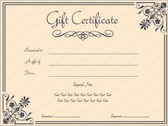 free printable and editable gift certificate templates promotions