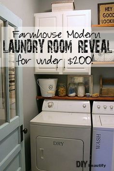 I added farmhouse charm to my boring builder-grade laundry room for Under $200!!!! View the reveal id this fabulous makeover and get details for all the projects at DIY beautify
