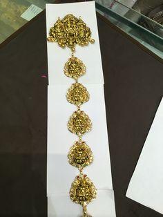 Jada 130gms 1 Gram Gold Jewellery, Temple Jewellery, Gold Wedding Jewelry, Gold Jewelry, Gold Necklaces, Viria, India Jewelry, Hair Jewelry, Gold Hair Accessories