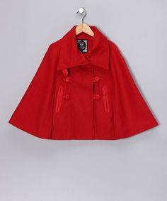 How CUTE is this? Red Button Cape - Girls by Yoki on #zulily, reg $76 now priced at $18.99!