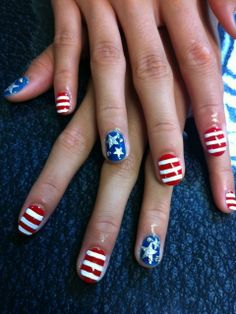 fourth of july nail designs | Fourth Of July Stripes And Stars Nail Art