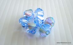 Lovely Light Sapphire AB Swarovski Bicone in 4mm and 6mm @ http://rhinestonz.co.nz/category/crystal-beads