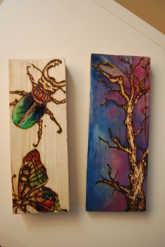 Kitsch illustrations on pine wood using a pyrography tool.