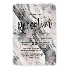 Modern Black & Gray Marble Wedding Reception Card - marble gifts style stylish nature unique personalize