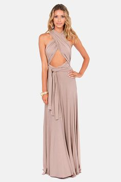 OMG I am in love with this dress! Tricks of the Trade Taupe Maxi Dress at LuLus.com!