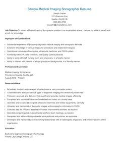 sample medical imaging sonographer resume - Ultrasound Resume