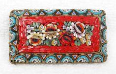 Superb Large Vintage Italy Micro Mosaic Roses Vivid Colors Brooch