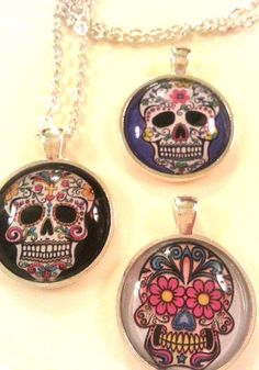 Sugar Skull Jewelry Necklace Free Shipping by scontrino1970, $10.00