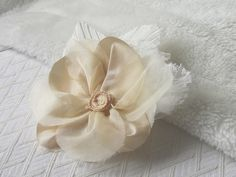 Pale Gold Flower Pin Fabric Corsage Hair by UrbanDaisyDesign, £18.00