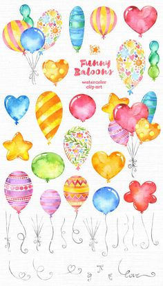 This Baloons clipart set is just what you needed for the perfect invitations, craft projects, paper products, party decorations, printable,