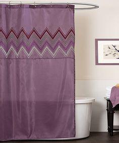 Purple Chevron Shower Curtain