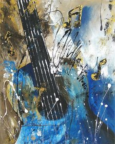 Orginal art absrtact  painting guitar  music notes  by Khanh Ha USA #Abstract