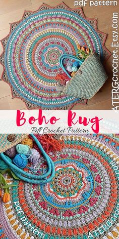 Bright and colorful boho rug. Make your own stunning boho crochet rug. This Ibiz… Bright and colorful boho rug. Make your own stunning boho crochet rug. This Ibizia boho style rug will look amazing. Crochet Home Decor, Crochet Crafts, Crochet Doilies, Crochet Yarn, Crochet Projects, Crochet Pillow, Hand Crochet, Free Crochet, Manta Mandala