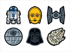 Star Wars Sticker Icons designed by Von Glitschka. Connect with them on Dribbble; the global community for designers and creative professionals. Theme Star Wars, Star Wars Room, Star Wars Decor, Star Wars Fan Art, Star Wars Party, Star Wars Stickers, Cute Stickers, Star Wars Classroom, Star Wars Cartoon