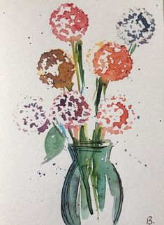 ORIGINAL AQUARELL Aquarellpostkarte Blumenstrauß abstrakt Kunst watercolor | Antiquitäten & Kunst, Kunst, Aquarelle | eBay!