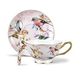 Panbado 3 Piece Porcelain Gold Rimmed Bone China Tea Cup ...