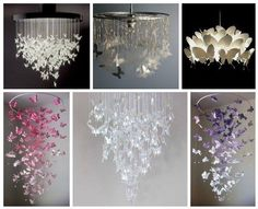 Chandelier Mobile So cute for a lil girls room! Butterfly Chandelier Mobile DIY TutorialsSo cute for a lil girls room! Butterfly Mobile, Origami Butterfly, Butterfly Crafts, Butterfly Lamp, Tutorial Diy, Origami Tutorial, Paper Butterflies, Paper Flowers, Borboleta Diy