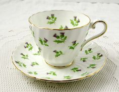 Aynsley Thistle Tea Cup and Saucer, Swirled Ribbing, Vintage Bone China