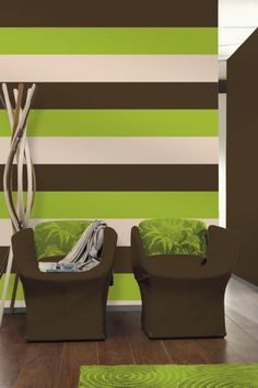 Olivia lime green/ chocolate brown stripe wallpaper  e40904. Really love these colors together!