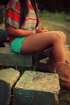 Tribal shirt & Aqua shorts
