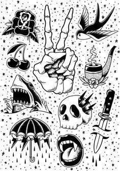 Comic style vector by rawpixel on can find Tattoo drawings and more on our website.Comic style vector by rawpixel on Flash Art Tattoos, Tattoo Flash Sheet, Body Art Tattoos, Kritzelei Tattoo, Doodle Tattoo, Comic Tattoo, Tattoo Sketches, Tattoo Drawings, Art Sketches