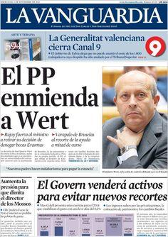 Los Titulares y Portadas de Noticias Destacadas Españolas del 6 de Noviembre de 2013 del Diario La Vanguardia ¿Que le pareció esta Portada de este Diario Español?