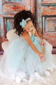 Tiffany blueTeal aqua Ivory flower girl tutu by BabyGiaCouture, $95.00