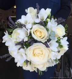 Lavender and Cream Hand-tied Bridal Bouquet with Lavender, Rosemary, Roses and Freesia - highly scented wedding flowers | Wedding Flowers Liverpool, Merseyside, Specialist Bridal Florist, Booker Flowers and Gifts, Booker Weddings