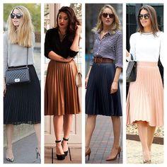 Para um look super feminino sem perder a formalidade necessária para o trabalho, a saia midi plissada é um sucesso!
