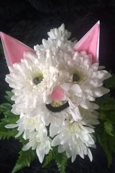 Kitty cat made from white chrysanthumums