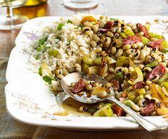 Black-Eyed Peas This tasty side-dish recipe includes pork, rice, and black-eyed peas.