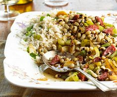 This tasty side-dish recipe includes pork, rice, and black-eyed peas.