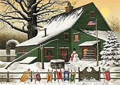 Art for sale from artist Charles Wysocki - Cocoa Break At The Copperfields (Canvas). Christmas Scenes, Christmas Art, Vintage Christmas, Cabin Christmas, Primitive Folk Art, Arte Popular, Naive Art, Country Art, Art Abstrait