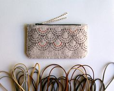 Felt Purse Wallet ø Hand Embroidered ø Sashiko Inspired ø LoftFullOfGoodies