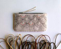 Wool Felt Coin Purse Wallet // Hand Embroidered // Sashiko Inspired // LoftFullOfGoodies