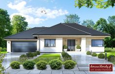 Projekt domu Wiesiołek II - Haus my favorite sweet home - Anbau House Exterior, Philippines House Design, Bungalow House Design, House Architecture Design, Bungalow Style House, Bungalow Design, House Plans Mansion, House Designs Exterior, Beautiful House Plans