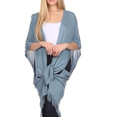 Blue Open Front Cardigan Solid color, oversize, fringed open front cardigan with buttons on sides. 65% cotton, 35% polyester. Perfect with jeans or leggings. Tops