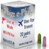 e-Plugz: Earplugs for Hearing Protection At Work, Sleeping and General Peace