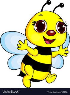 Cute Funny Bee Cartoon vector image on VectorStock Easy Drawings Sketches, Art Drawings For Kids, Drawing For Kids, Cute Drawings, Cartoon Bee, Cartoon Wall, Cute Cartoon, Bee Clipart, Bee Pictures