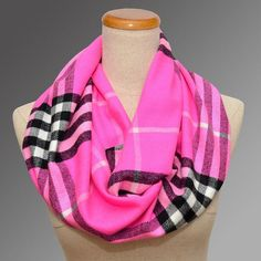 Neon plaid | Neon Pink Plaid Scarf by ScarfEco on Etsy, $14.89