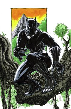 """Black Panther Commission by Tom Hodges Pen-Ink-Copic Marker and Color Pencil on 11"""" x 17"""" Bristol Board For a Commission Spot, head to my Etsy Store: Hodges Art Headed to Long Beach Comic Con, NYCC or Sta..."""