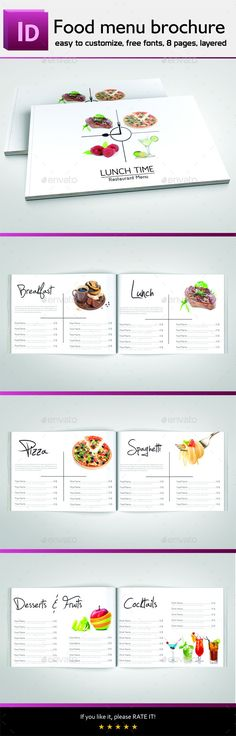 Food Menu Brochure — InDesign INDD #fast food #kitchen • Available here → https://graphicriver.net/item/food-menu-brochure/11051746?ref=pxcr