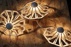 Wood lamps by Trine Porse
