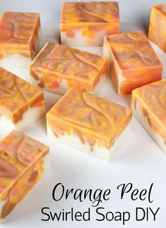 Orange Peel Swirled Soap // Learn how to create this bright and cheery orange soap.