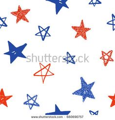 Hand drawn sketchy stars. Red and blue. Glitter effect. Vector seamless pattern