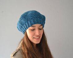 Knit Beret, Handmade Beret, Knit Beanie, Woman Beret, Woman Beanie, Blue light Beret