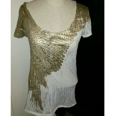 Miss Me Gold and white embellished Miss Me top size large, great condition Miss Me Tops