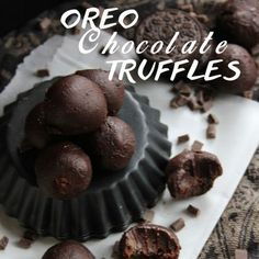 Vegan Oreo Chocolate Truffles in 3 Ingredients Recipe Desserts with dark dairy free chocolate chips, full fat coconut milk, OREO® Cookies