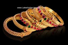Assorted Brilliant Antique Gold Bangles/Kadas Studded with High quality Rubies and Emeralds | Latest Indian Jewellery Designs